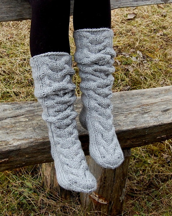 Hand Knit Slippers Socks Cable Knit Slipper Boots Knitted Etsy