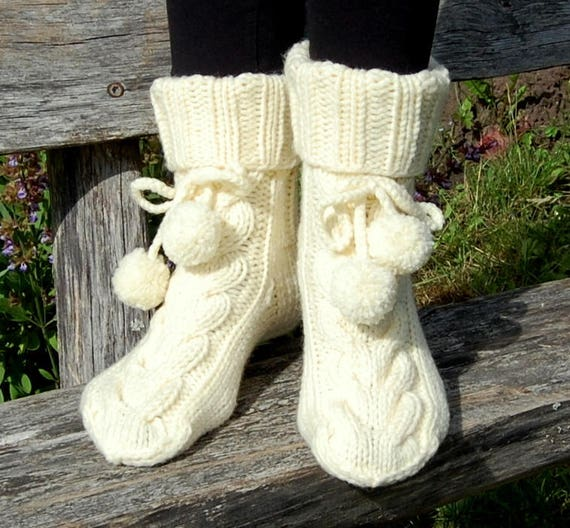 Cable Knit Slipper Socks With Pom Pom Knit Wool Slippers Etsy