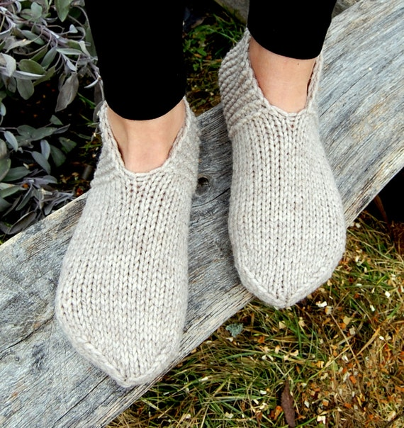 Hand Knit Wool Slippers Socks Hand Knit Slippers Knitted Etsy