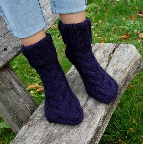 Hand Knit Wool Slipper Socks Knitted Wool Slippers Slipper Etsy