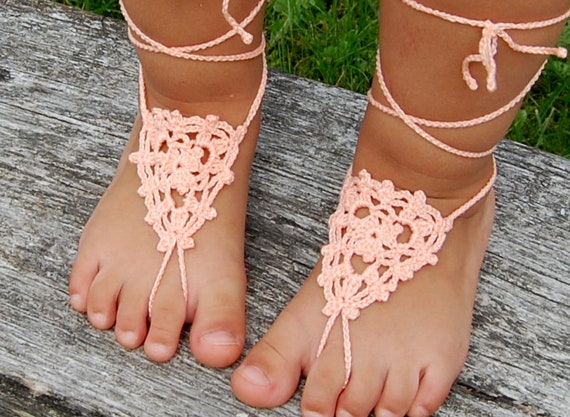 Girl Infant Baby Lace Pearl Shoes Beach Sandals Barefoot Foot Wrap Ring