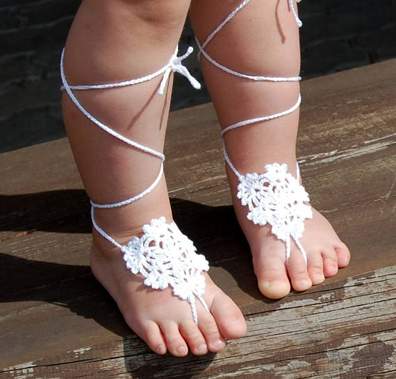 Crochet Baby Girls Barefoot Sandals Baptism Lace Shoes Newborn Infant Flower Girls Foot Jewelry Lace Toddler Sandals, Christening Shoes