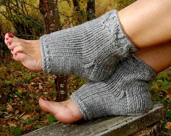 Knitted Pedicure Socks, Toeless Socks, Flip Flop Socks,  Cable Knit, Heel Socks, Yoga Socks, Hand Knit Socks for Pedicure, for Spa