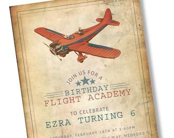 CUSTOM Vintage Airplane Invitation 5x7