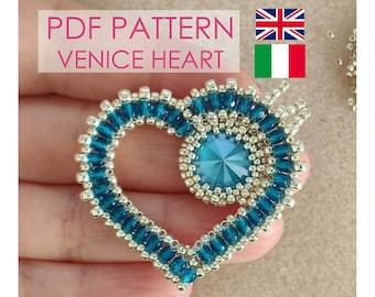 Venice Heart pattern, Heart Pendant PDF Photo Tutorial, Valentine's day tutorial, Heart Pattern, Red Heart Tutorial, Heart PDF Pattern