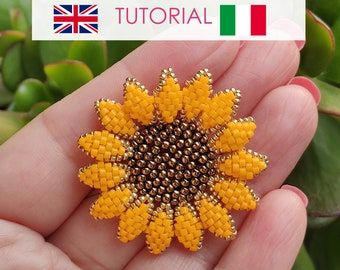 Beaded Sunflower pattern, Sunflower Pendant PDF Photo Tutorial, Flower tutorial, Flowers beading Pattern, Sunflower Tutorial, Beaded Flower