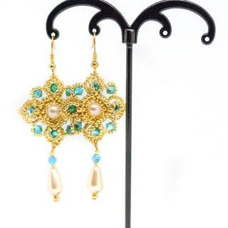 Arabesque Earrings, Swarovski crystal pearls Earrings, Bridal earrings, Dangle earrings, wedding earrings, golden earrings, hanging earrings