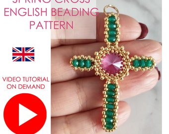 Spring Cross VIDEOTUTORIAL, Cross Pendant VIDEO TUTORIAL, Easter tutorial, Cross Tutorial, Beaded Cross diy Tutorial, Cross Pattern