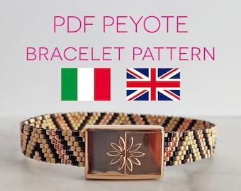 Bracelet tutorial, Peyote bracelet Pattern, Peyote Tutorial, Odd peyote pattern, PDF tutorial, Beads Bracelet, Delica pattern, Beadweaving
