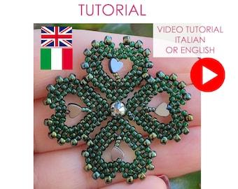 4 Clover Leaf VIDEOTUTORIAL, Four Clover Leaf Pendant VIDEO TUTORIAL, 4 clover pendant, Beaded pendant, four clover necklace, lucky charm