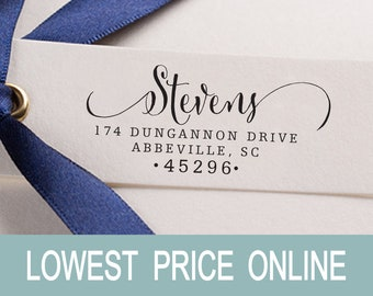 Return Address Stamp Personalized Family Name Custom Address Calligraphy Stamp Rubber Stamp Self Inking Stamp RE442