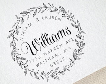 Custom Wedding Stationery Stamp Wedding Favor Stamp Floral Monogram Wedding Rubber Stamp Save the Date Stamp 1230 Seed Favor Stamp