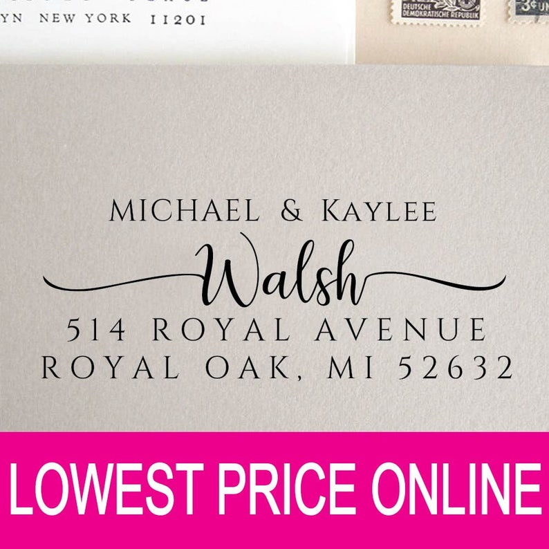 Personalized Custom Made Handle Mounted Rubber Stamp Return Address Wedding r74