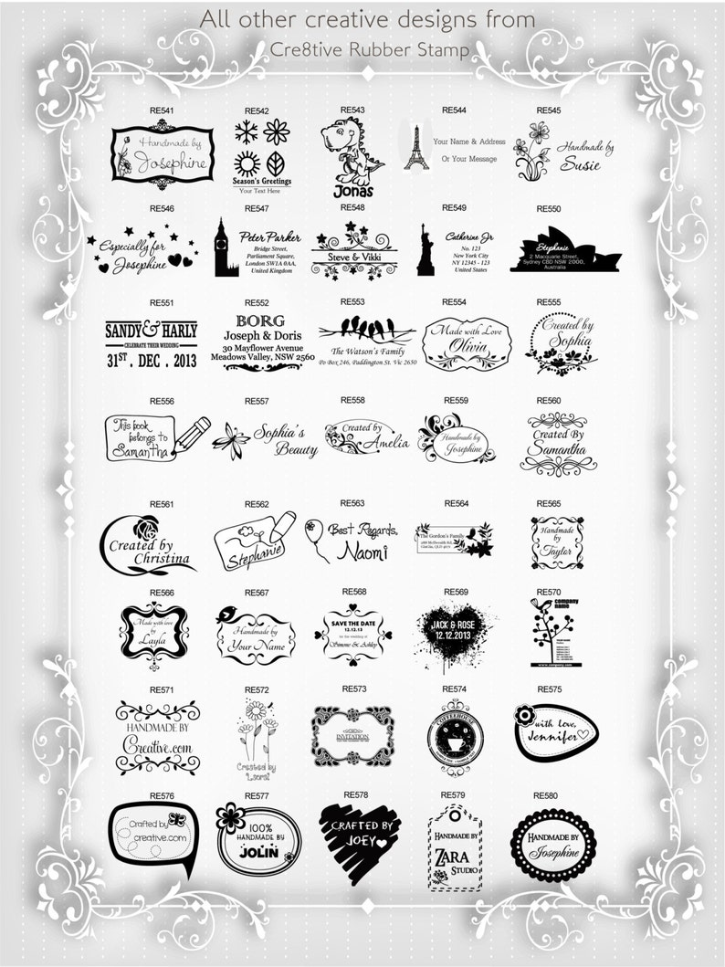 Personalized Custom Name Returned Address Wedding Gift Thank You Card Handle Mounted Rubber Stamp OR Pre-inked Stamp RE729