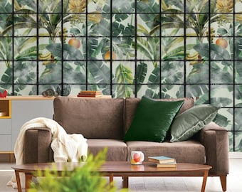 European designer wallpaper / wallcovering panel - feature wall - tropical jungle banana leaves winter garden sunroom green