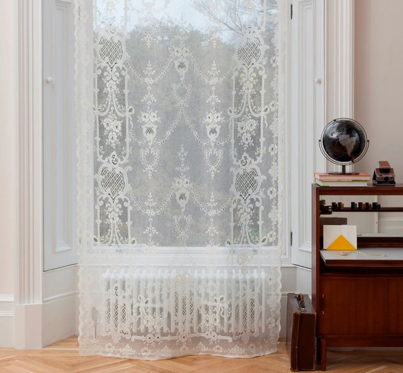 Romantic Vintage Shabby Chic Lace Window Curtain Sheer Panel Etsy