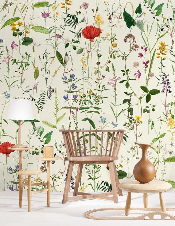 Countryside Flowers Wallpaper Summer Flowers Designer Wallpaper Wallcovering Feature Wall Botanical Floral Wallpaper Print