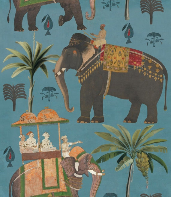 Indian Elephant Wallpaper European Designer Wallpaper Wallcovering Panel Feature Wall India Elephants Palms Exotic Turquoise Wallpaper