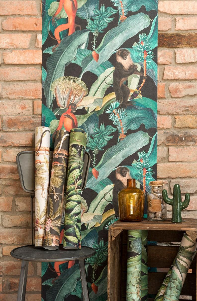 feature wall European designer wallpaper  wallcovering tropical jungle leaves monkeys green black