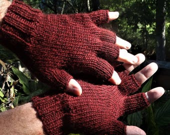 Half Finger Gloves Men's Dark Red Pure Baby Alpaca Half Finger Gloves Hand Knit Brick Red Hand Warmers Baby Alpaca Half Finger Knit Gloves