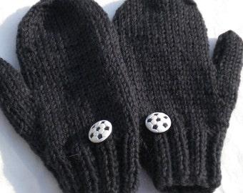 Mittens Hand Knit Soccer Mittens Black Merino Wool Children's Mittens (SM) With Soccer Ball Buttons Knit Black Wool Kid's Soccer Mittens