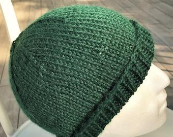 Hat Hand Knit Men's Dark Green Bulky Baby Alpaca Beanie L - XL Watch Cap
