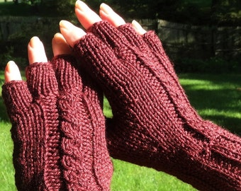Half Finger Gloves Ladies' Hand Knit Maroon Half Finger Cabled Merino Wool & Silk Half Finger Gloves Hand Warmers Dark Burgundy Knit Gloves