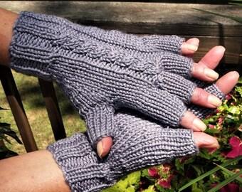 Half Finger Gloves Ladies' Hand Knit Light Gray Cabled Merino Wool & Silk Half Finger Gloves Hand Warmers Ladies' Light Gray Cabled Gloves