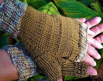 Fingerless Gloves Hand Knit Ladies' Light Brown Gloves With Variegated Cuffs Merino Wool Fingerless Hand Warmers Gloves With No Fingers