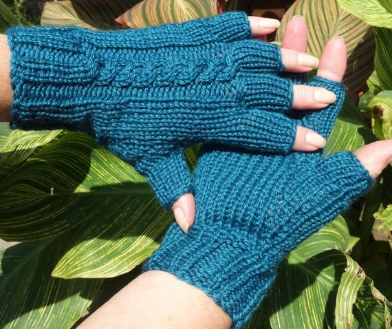 Half Finger Gloves Ladies Hand Knit Teal Blue With Cable Etsy