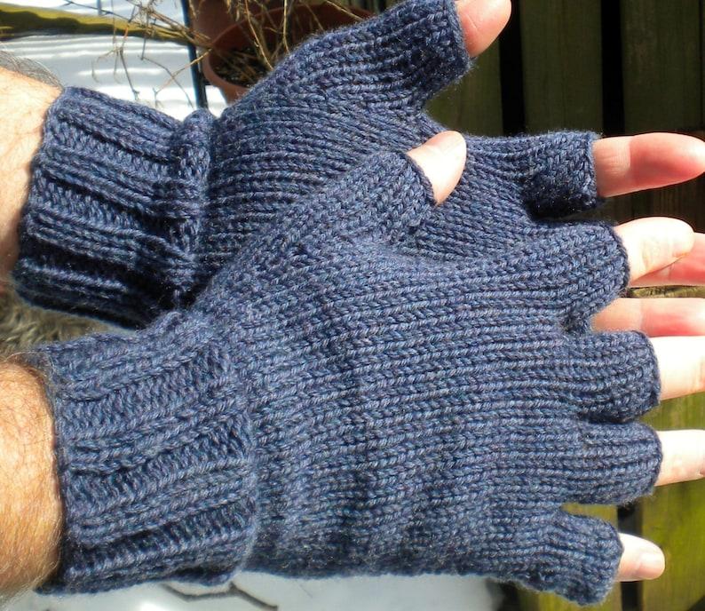 Half Finger Gloves Men's Hand Knit Blue Merino Wool Gloves image 0
