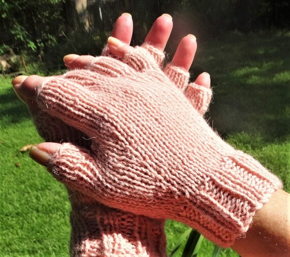 Half Finger Gloves Ladies Hand Knit Pale Pink Pure Baby Etsy