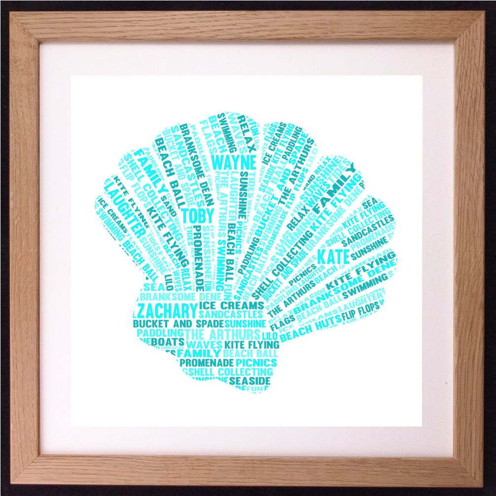 personalised scallop shell word art gift etsy. Black Bedroom Furniture Sets. Home Design Ideas