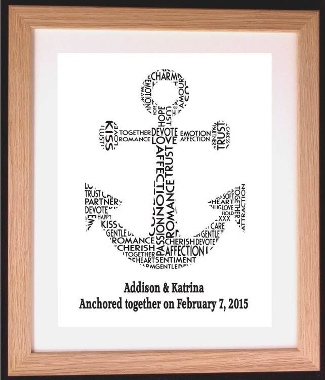 Personalised Anchor Wedding Or Anniversary Word Cloud Art Gift Etsy