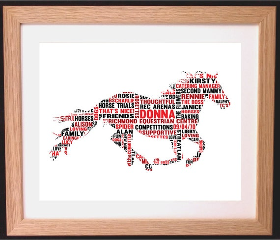 Personalised Word Art Print Show Jumping Horse Racing Equitation Eventing Gifts