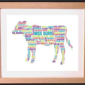 Personalised Cow Word Art Gift