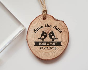 Wedding Save the Date Rubber Stamp with Names and Date