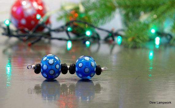 Paire de chalumeau, verre Murano fait à la main paire de boucle d'oreille perle, 2 + 4 une paire de perles, Nuggets Turquoise avec blanc points paire de boucle d'oreille SRA