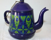 Vintage Enameled Tea Pot Fish Design Mid Century Modern Blue Green Stunning