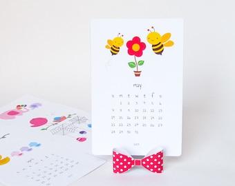 2019 Printable Desk Calendar Diy Animal Calendar Illustrated Etsy