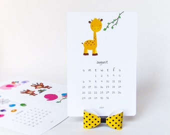 2018 Printable desk calendar, DIY Animal calendar, illustrated kids calendar yellow bow, cute 2018 monthly calendar stand, Instant download