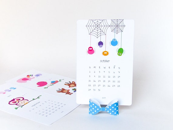 2019 Printable Desk Calendar Diy Animal Calendar Cute Etsy