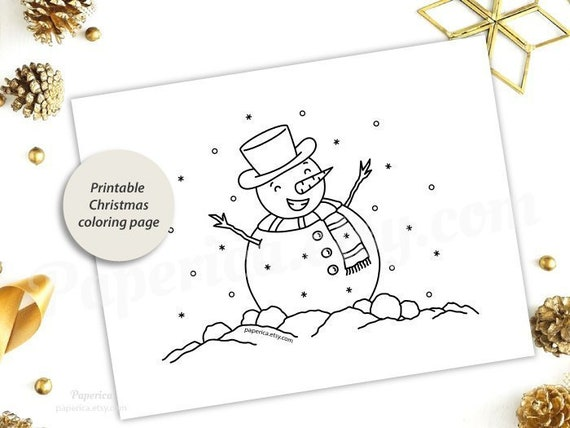 Printable Christmas Coloring Page Etsy
