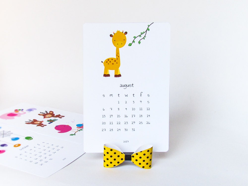 2019 Printable Desk Calendar Diy Animal Calendar Illustrated Etsy