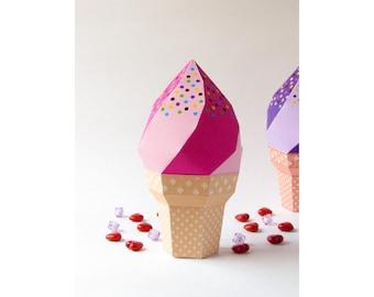 DIY icecream favor box, Strawberry icecream soft serve waffle cone, Printable template, Printable birthday party favor box, Digital download