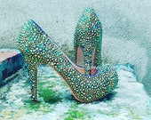 Crystal Wedding Shoes, Crystal Bridal Shoes, Bling Shoes, Blue Green AB Mermaid heels,