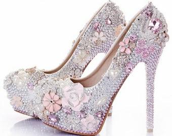 7e20c612397 Rose Crystal Bridal Shoe s