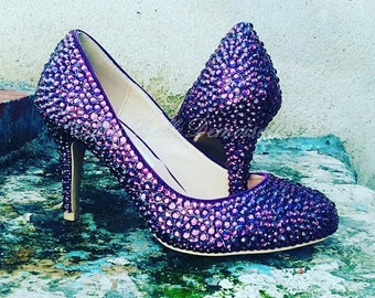bb28f574c1573e Purple Crystal Bridal Shoes