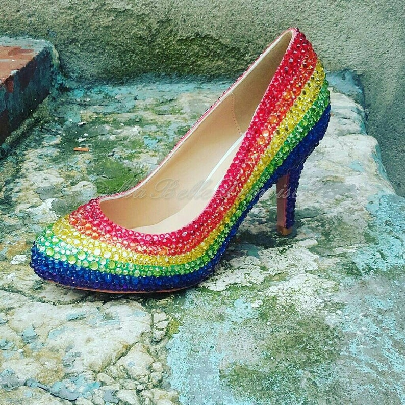98dc6a7aa76a95 Rainbow Bridal Shoes Rainbow Wedding Shoes Bridal Shoes