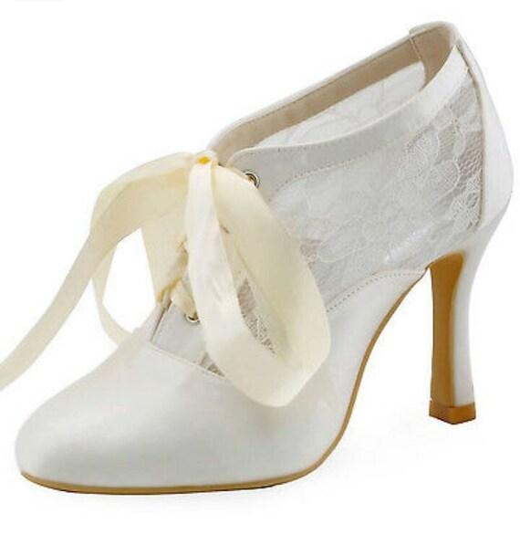 Vintage Spitze Schuhe Vintage Spitze Braut Schuhe Elfenbein Etsy